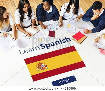 Learn Spanish Language Online Education Concept