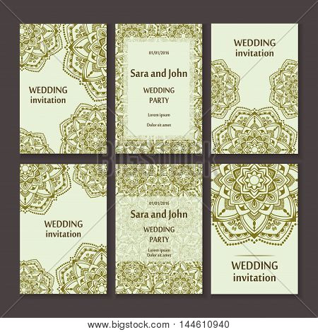 Vintage invitation cards set with lace ornament. Template frame design for card. mandala retro style