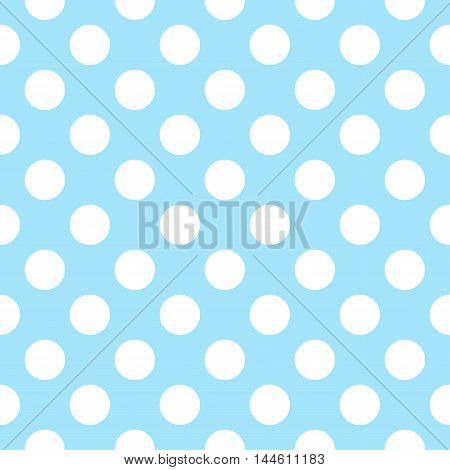 Vector pattern with polka dots on blue background