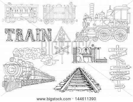 Black and white set with vintage locomotives and old train theme details. Doodle line art illustrations with hand drawn design elements