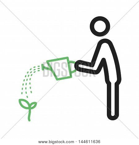 Watering, man, plants icon vector image. Can also be used for people. Suitable for use on web apps, mobile apps and print media.