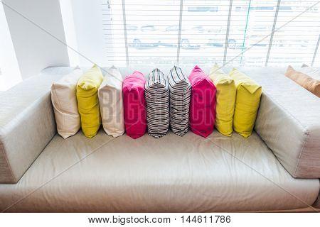 Closeup of modern furniture with pillows