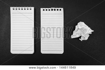 Blank Note book mock up on black background