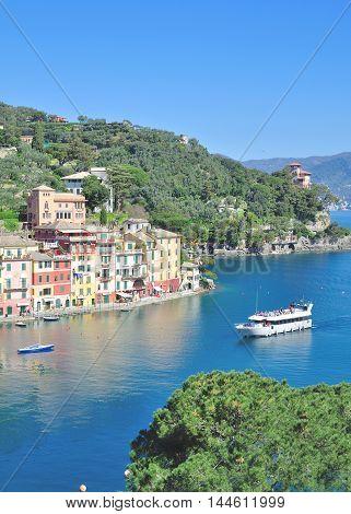 popular idyllic Village of Portofino at italian Riviera,Liguria,Italy