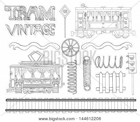 Vintage black and white collection with tram theme objects. Doodle line art illustrations with hand drawn design elements - rails, wheels, springs and symbols