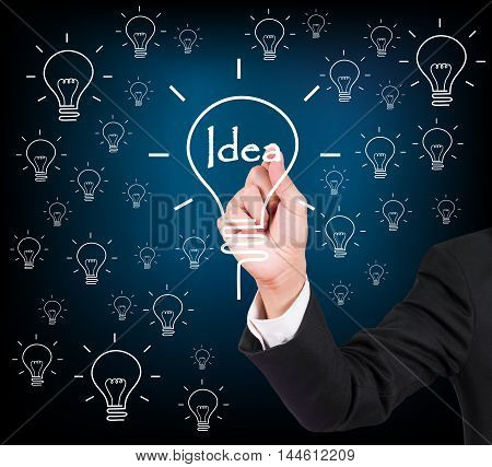 Businessman Hand Writing And Drawing Light Bulb, Idea Concept