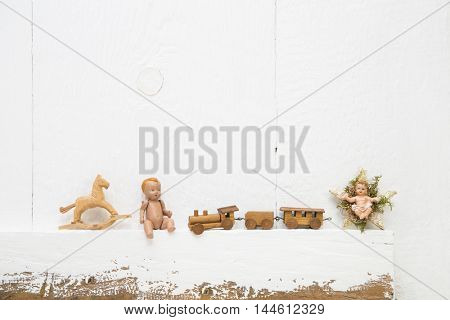 Old christmas wooden miniatures toys for vintage xmas decoration.