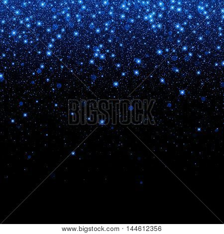Vector neon glitter particles background effect for luxury greeting rich card. Sparkling blue texture. Star dust sparks in explosion on black background.