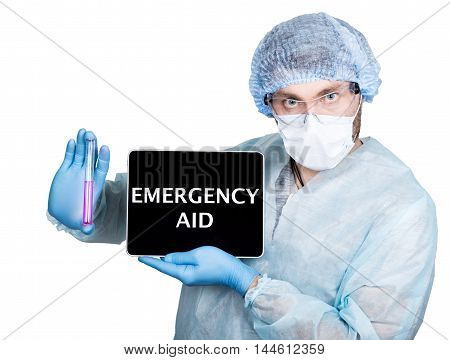internet technology and networking in medicine concept. Doctor in surgical uniform, holding test tube and digital tablet pc with emergency aid sign. Isolated on white.