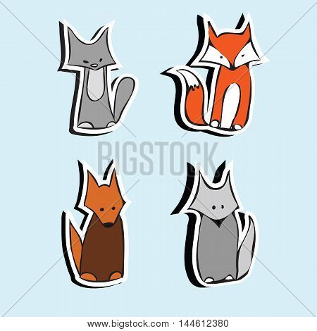 Children's cartoon stickers funny cute cat and dog, fox and wolf