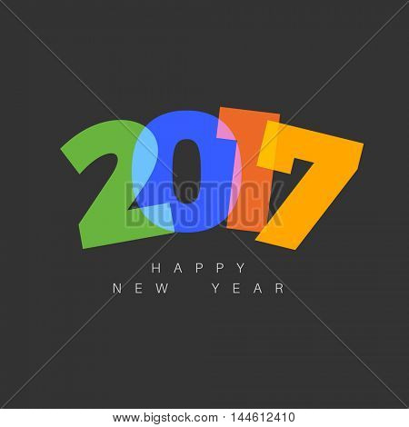 Vector Modern minimalistic Happy new year card (2017) with a big numbers and flat overlay effect - dark version