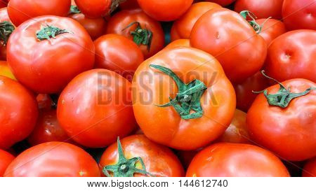 The Red Color Of Tomato On Shelf For Sell In Supermarket