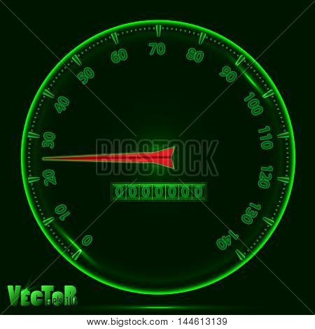 panel speedometer with glowing effect the color green with the red arrow