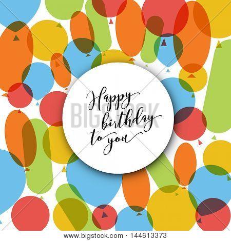 Happy birthday modern minimalist vector illustration card with balloons