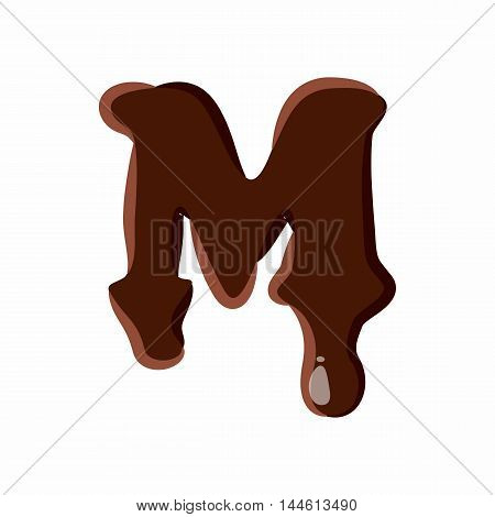 Letter M from latin alphabet with numbers and symbols made of dark melted chocolate