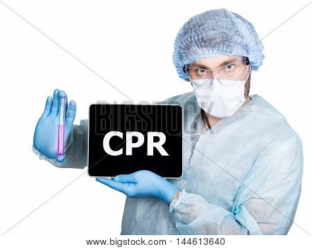 Doctor in surgical uniform, holding test tube and digital tablet pc with cpr sign. internet technology and networking in medicine concept. Isolated on white.