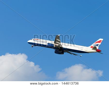 Moscow - 31 July 2016: large passenger aircraft Airbus A321-231 British Airways flies to Domodedovo airport and on a background of blue sky July 31 2016 Moscow Russia