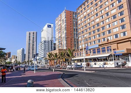 Esplanade Against City Skyline On Beach Front In Durban