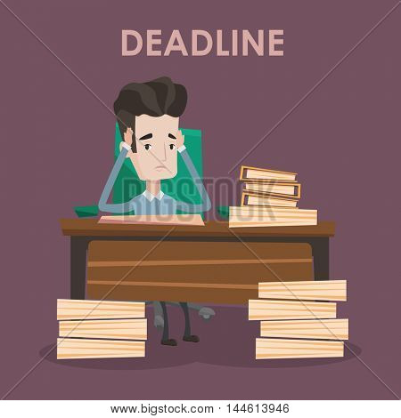 Stressed businessman sitting at the table with stacks of papers. Overworked businessman clutching his head. Businessman having problem with deadline. Vector flat design illustration. Square layout.