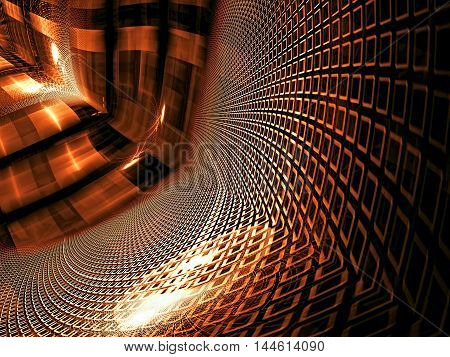 Technology background - abstract computer-generated image. Fractal geometry - diagonal tunnel, glossy surface with cells and stripes. Digital art for desktop wallpaper, web design, posters.