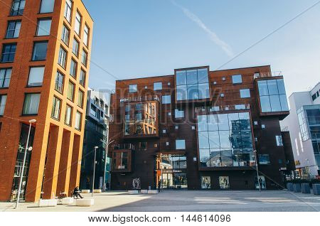 TALLINN ESTONIA - MARCH 19 2015: Scandinavian architecture of Rotermann quarter in Tallinn. Modern buildings with unusual shapes windows