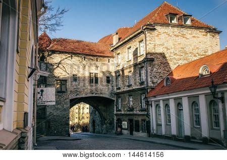 TALLINN ESTONIA - MARCH 19 2015: Great Coastal Gate The Estonian Maritime Museum and Fat Margaret Tower in Old Tallinn Estonia.