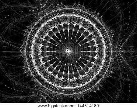 Abstract mystical background - computer-generated image. Sacred geometry: mandala flower and chaos curls. Fractal art for prints, web design, covers.
