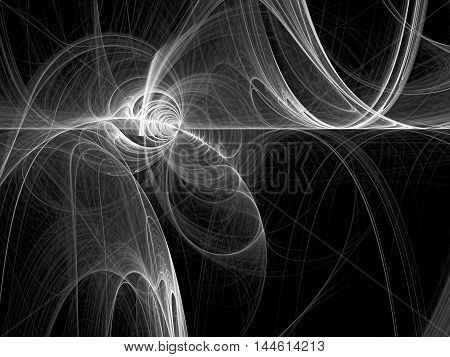 Abstract fractal background - computer-generated image. Digital art: chaos glowing curves like clouds of smoke. For web design, posters, covers