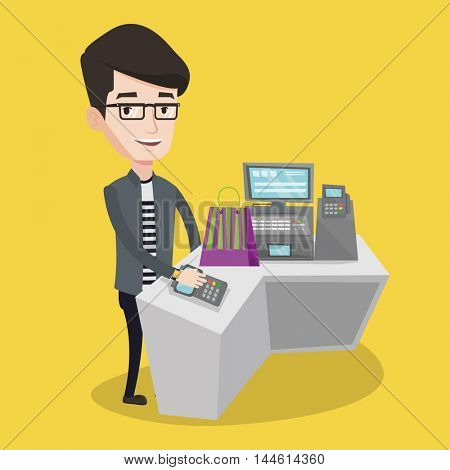Young man paying wireless with his smart watch at the checkout counter. Male customer making payment for purchase with smart watch. Man doing shopping. Vector flat design illustration. Square layout.