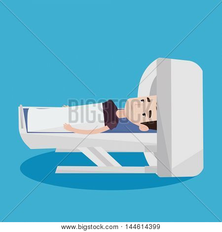 Young man undergoes a magnetic resonance imaging scan test. Man having magnetic resonance imaging. Magnetic resonance imaging machine scanning patient. Vector flat design illustration. Square layout.