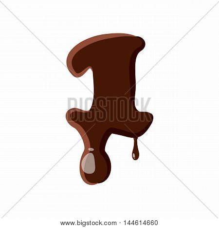 Number 1 from latin alphabet with numbers and symbols made of dark melted chocolate