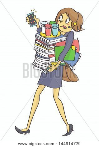 Illustration of business woman, secretary or clerk overloaded with office tasks and work, all in stress. Exhausted, overworked multitasking woman carrying office things. Vector.