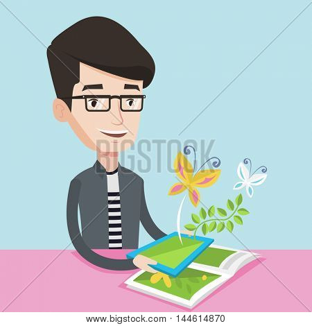 Young happy man holding tablet computer above the book. Man looking at butterflies flying out from digital tablet. Concept of agmented reality. Vector flat design illustration. Square layout