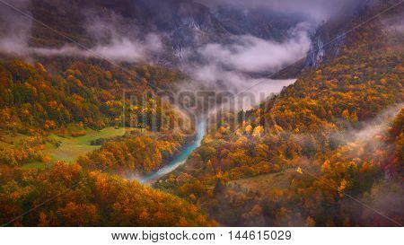 Early morning at colorful autumn with a beautiful view on the canyon of the river Tara in Montenegro. Deepest canyon in Europe it is protected as a part of Durmitor National Park and is a UNESCO World Heritage Site.