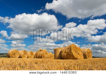 Landscape with golden hay rolls in French summer landscape
