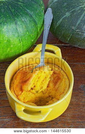 Pumpkin Souffle On Wooden Table