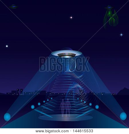 UFO alien ship night city road spotlights star space