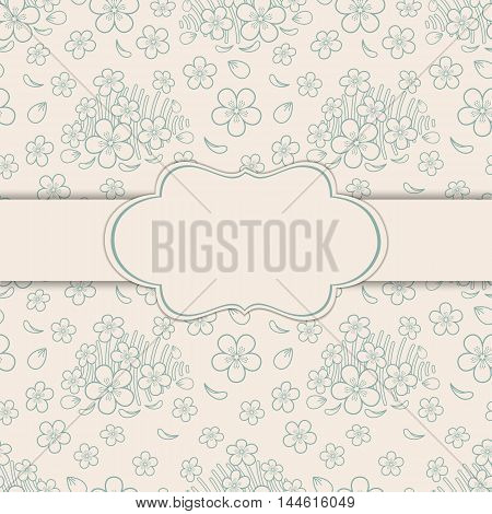 Floral ornament greeting card vintage style. Vector illustration