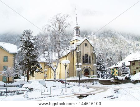 Church in Chamonix town, France, French Alps  in winter