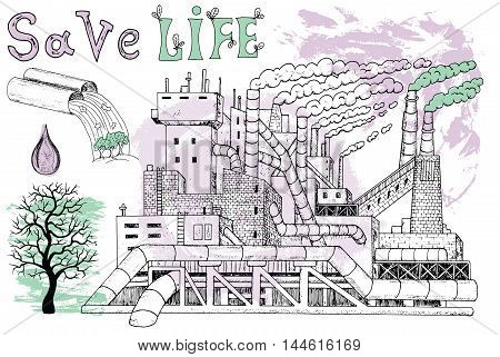Ecological illustration with factory, leafless tree and pollution theme on textured background. Hand drawn line art symbols and illustrations, doodle drawing, environment protection theme