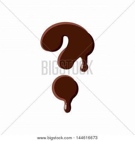 Question mark from latin alphabet with numbers and symbols made of dark melted chocolate