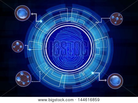 Illustration of  Fingerprint with concept blue abstract technology background