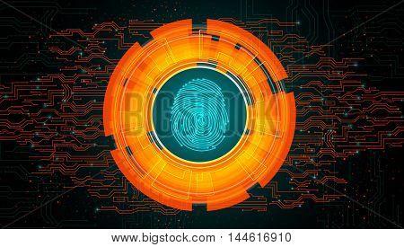 Illustration of  Orange light abstract technology background for concept fingerprint scanning