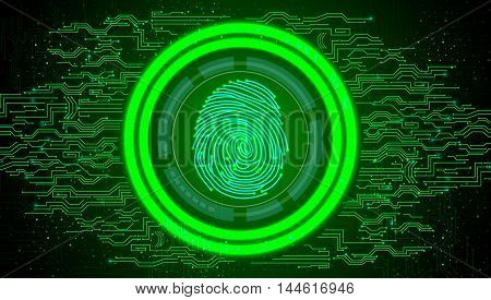 Illustration of Fingerprint with concept green abstract technology background