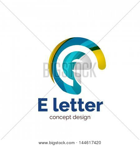 Vector letter concept logo template, abstract business icon. Created with transparent overlapping wave elements, elegant design
