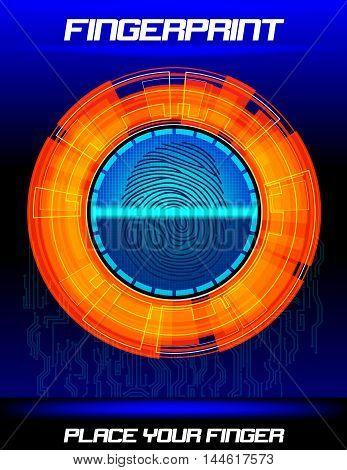Illustration of  Fingerprint scanning orange background, identification system