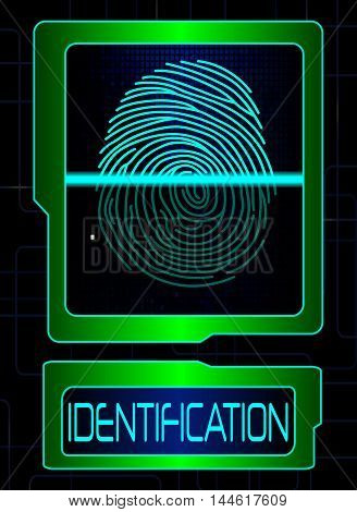 Illustration of  green Fingerprint scanner, identification system