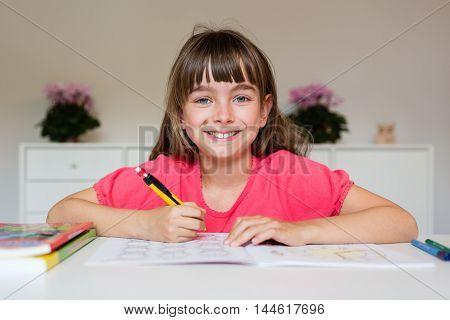 Girl Ready To Do Her School Work