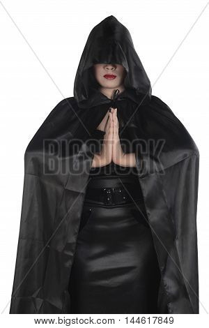 Young Asian Witch Woman Wearing Black Costume