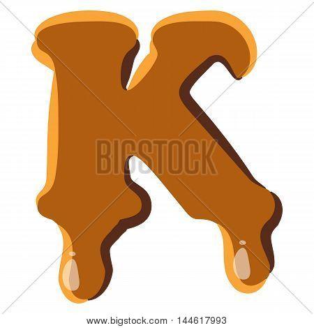 Letter K from caramel icon isolated on white background. Alphabet symbol